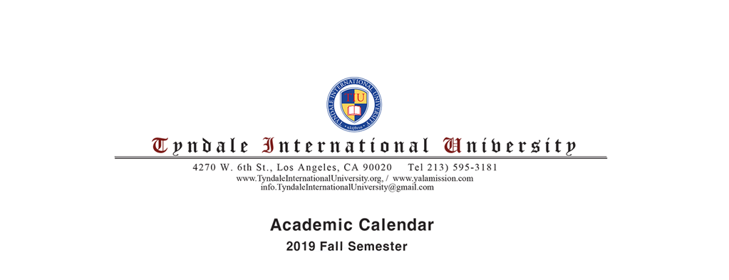 2019 Fall Academic Calendar