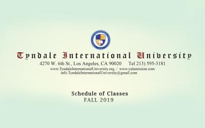 2019 Fall Class Schedule